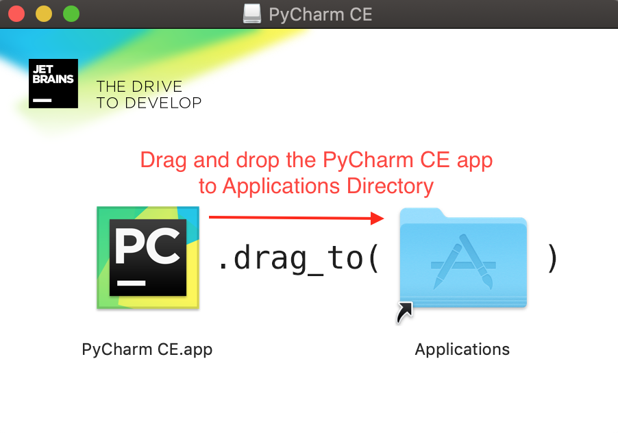 PyCharm CE App Drop To Applications Directory
