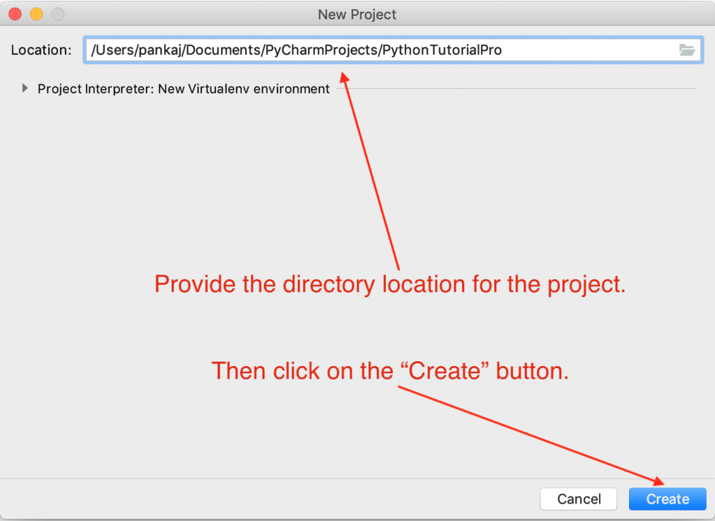 PyCharm New Project Location