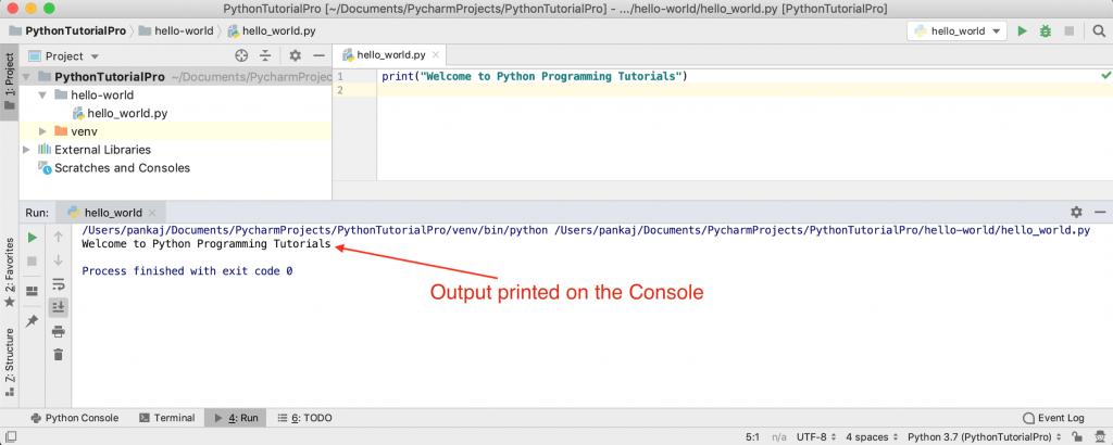 PyCharm Python Script Hello World Output