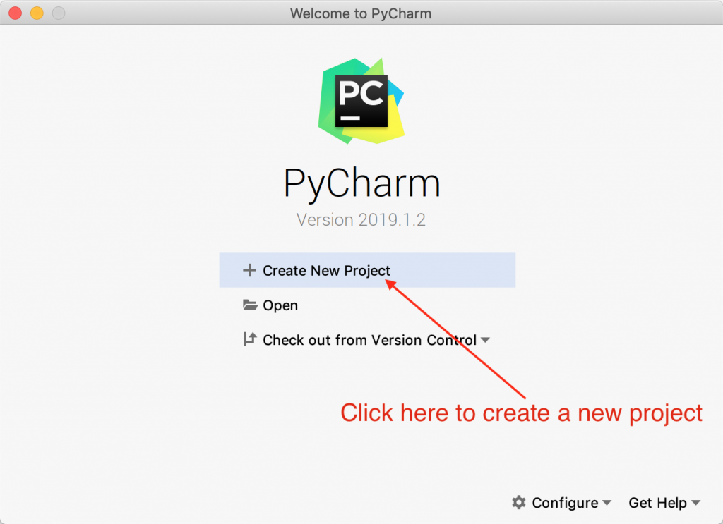 PyCharm Welcome Screen