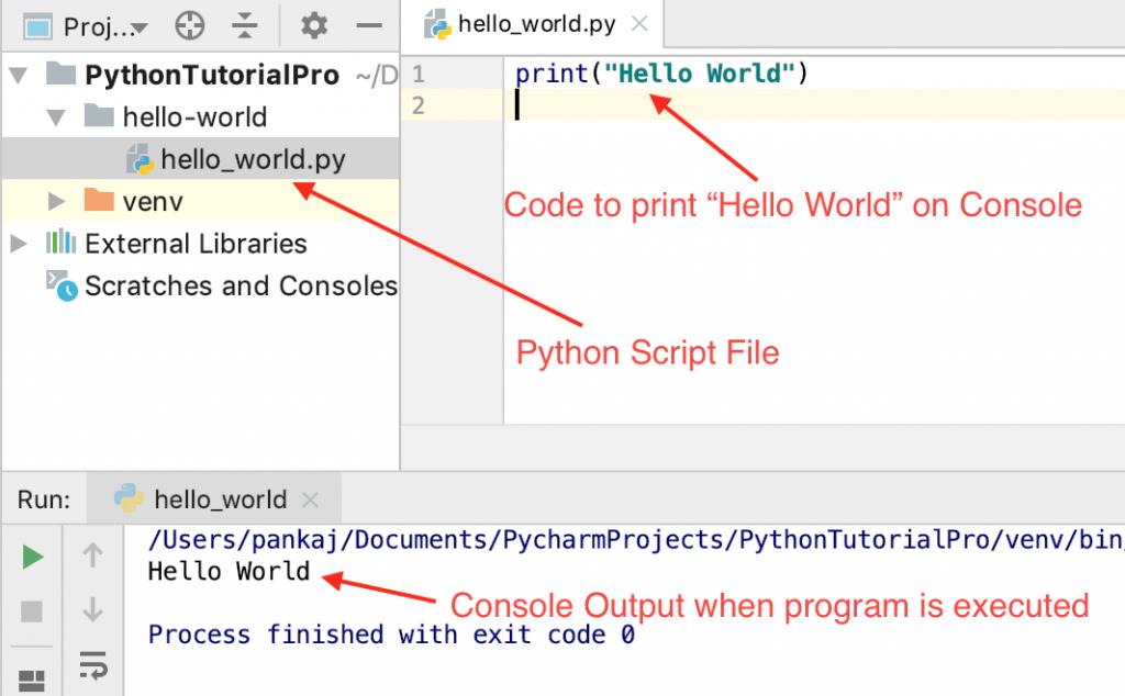 Python Hello World Program Output