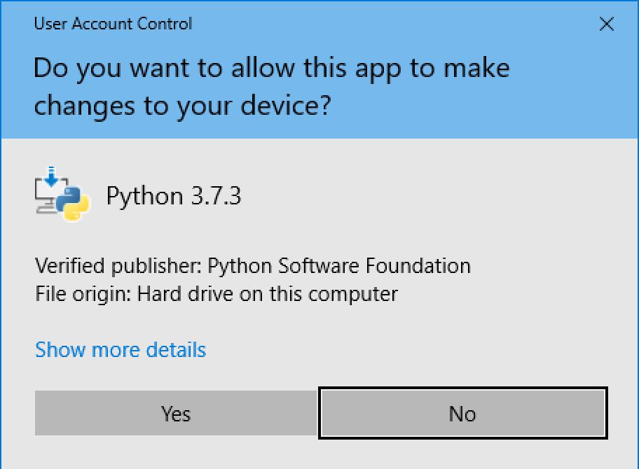 python windows installer app update permission allow