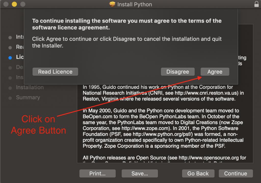 Python Mac Os Installer Agree Licence