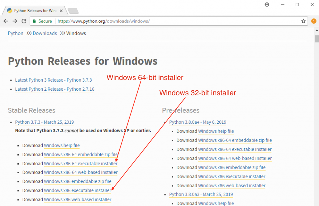 Python releases for Windows 64-bit and 32-bit installers download.