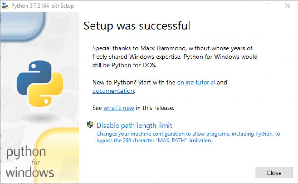 python windows setup successful message window popup
