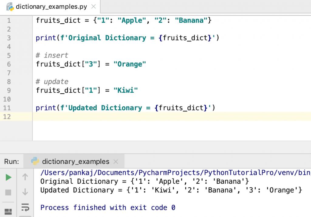 Adding Updating Python Dictionary Items