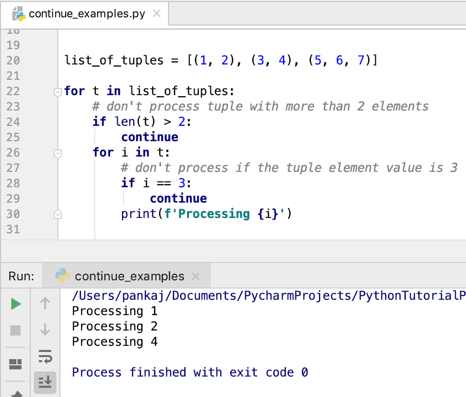 Continue Statement With Nested Loop