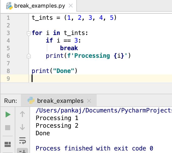 Python Break Statement For Loop