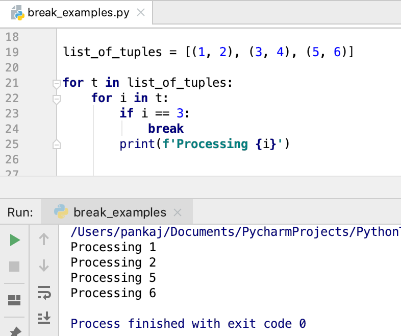 Python Break Statement Nested Loop