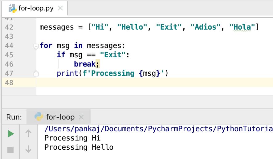 Python For Loop Break