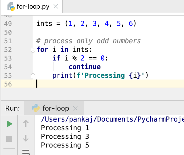 Python For Loop With Continue Statement