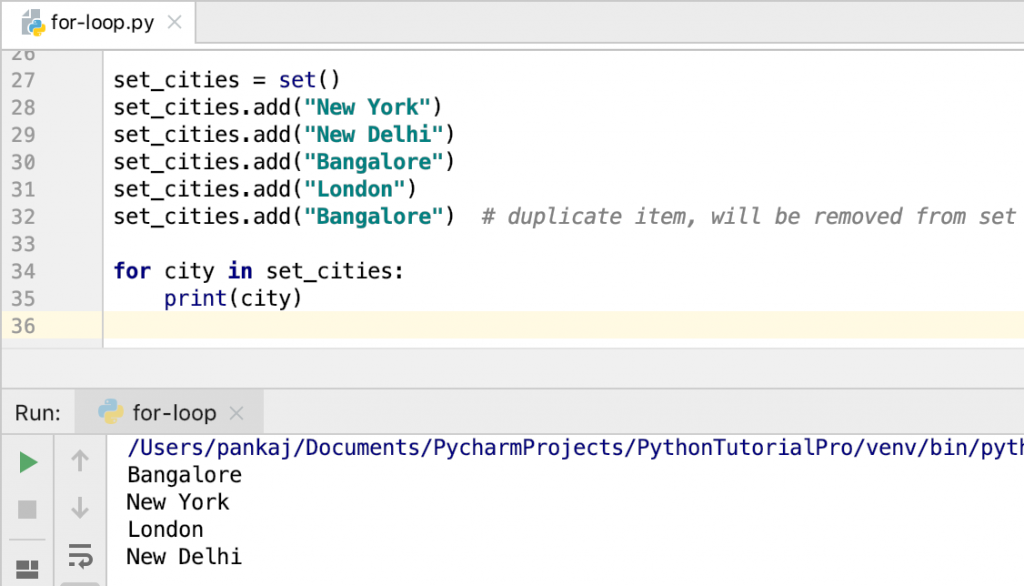 Python For Loop With Set