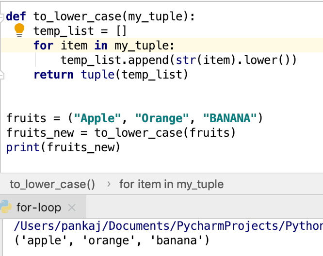 Python For Loop With Tuple