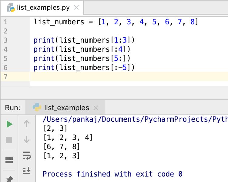Python List Slicing