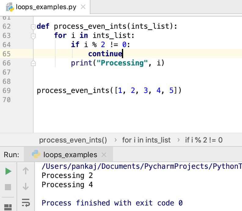 Python Loop Control Statement Continue
