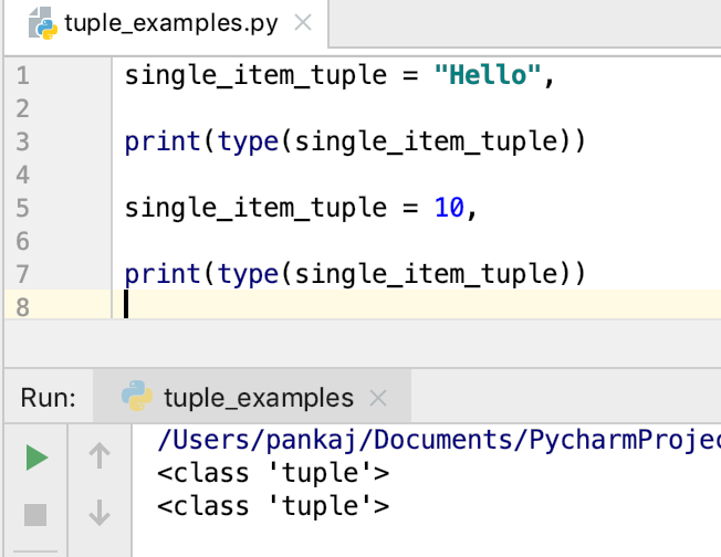 Python Tuple With Single Element