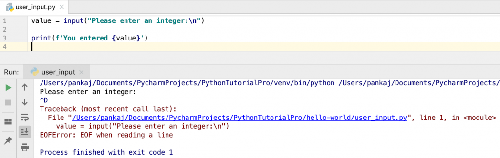 Python User Input EOFError