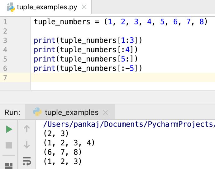 Slicing Tuple In Python