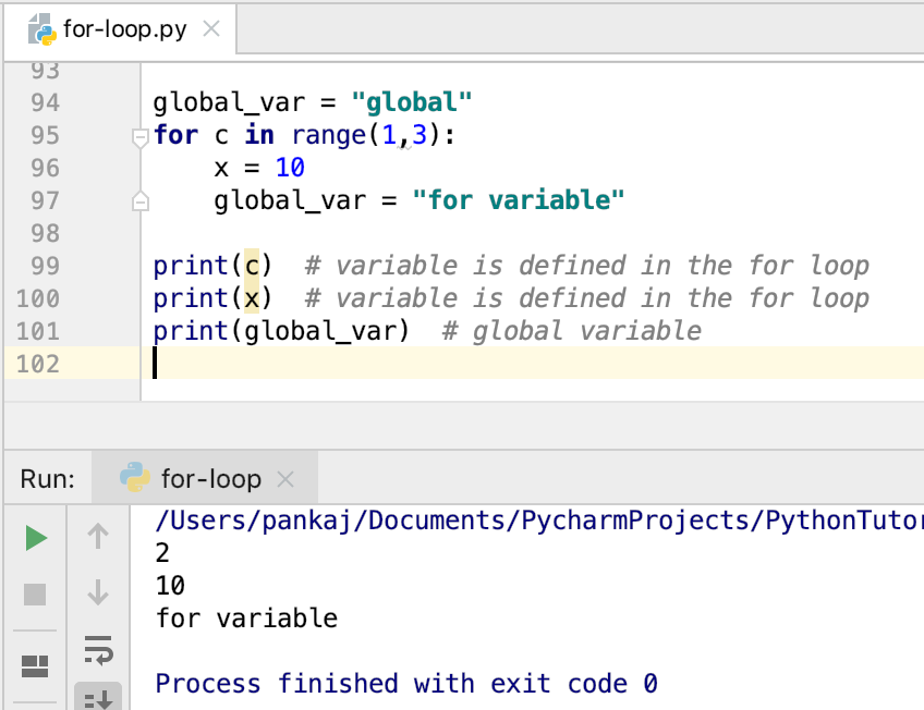 Python For Loop Global Variables