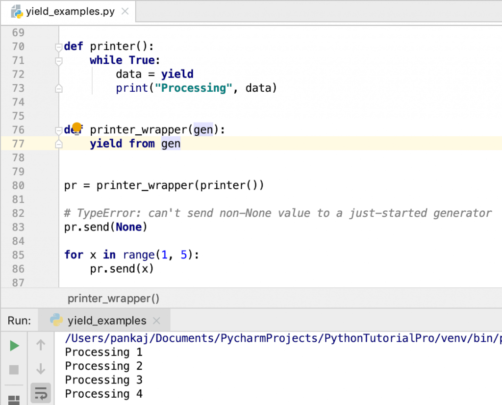 Python Yield Example