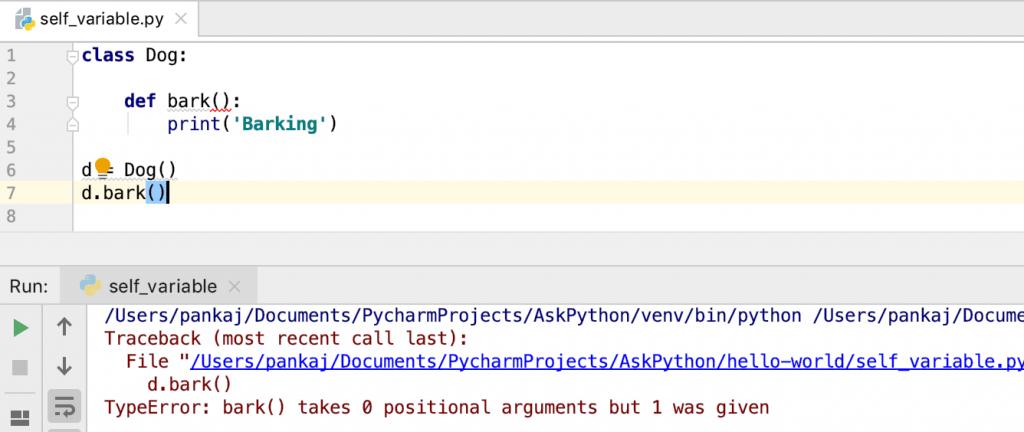 Python Class Method Without Self Error