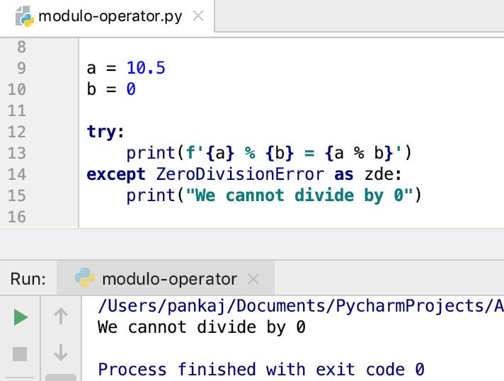 Python Modulo ZeroDivisionError