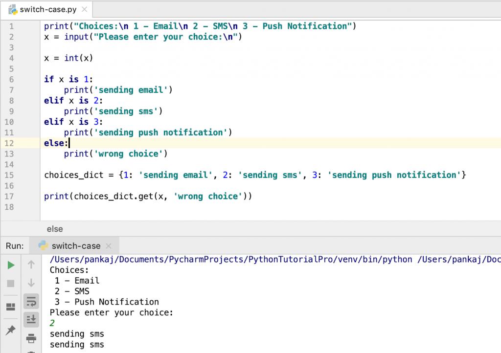 Python Switch Case Implementation