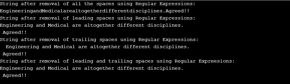 Output Removal Of Spaces Using RegEx