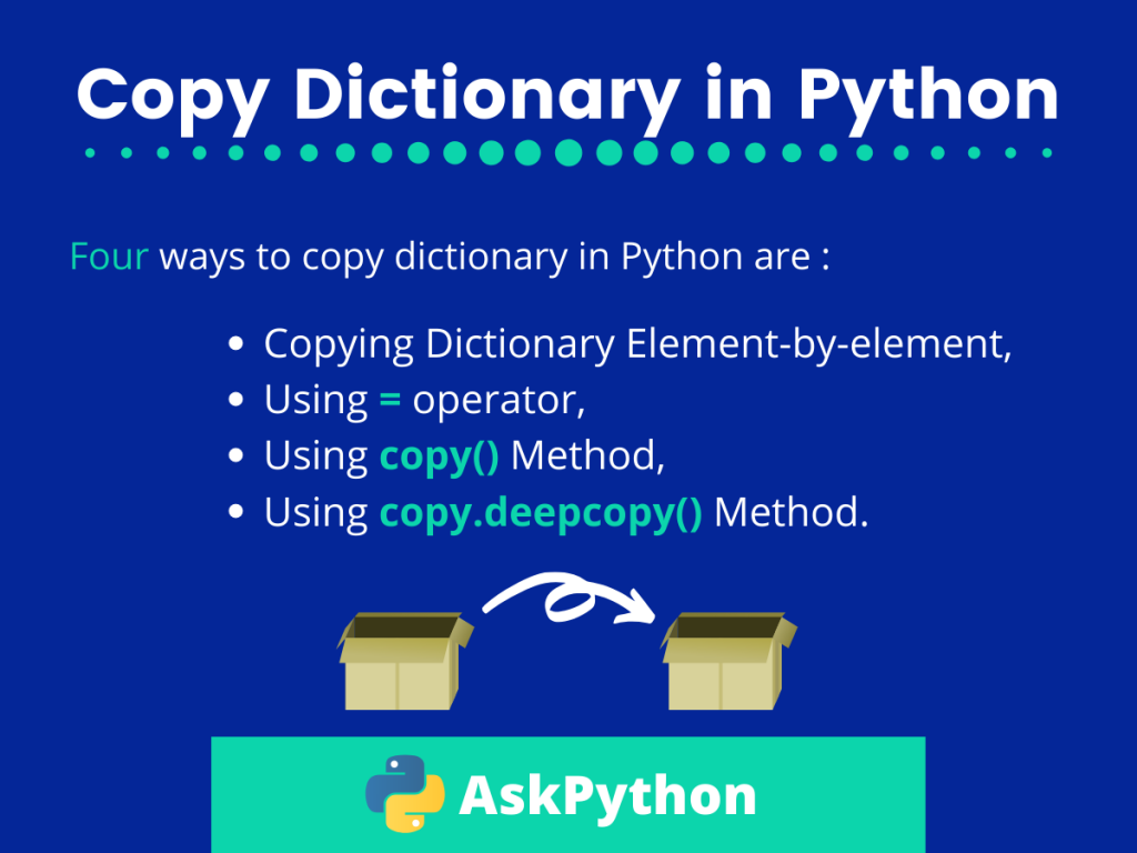 20 Easy Ways to Copy a Dictionary in Python   AskPython