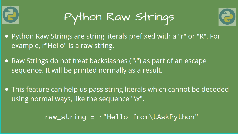 How to use Python Raw Strings   AskPython