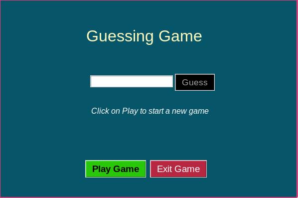 GUI Screen number guessing game GUI
