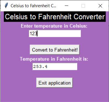Output1 C2F Celsius to Fahrenheit Tkinter