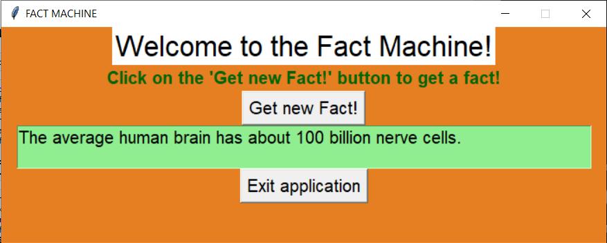 Random Facts Machine in Tkinter