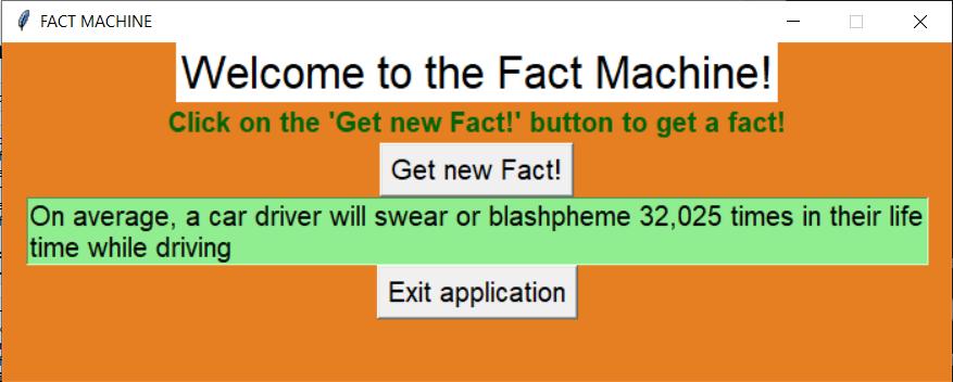 Output2 Fact Machine Random Facts Machine in Tkinter